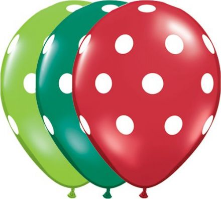11'' Big Polka dots latex balloons in festive assortment x 25